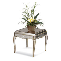 Bassett Mirror - Collette Rectangle End Table - Antique Mirror with Gold and Silver Leafing. Measures: 25 in. W x 28 in. D x 22 in. H. Part of the Collette Collection.