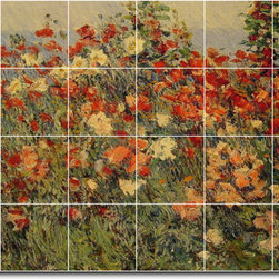 Picture-Tiles, LLC - Poppies In A Field Tile Mural By Childe Hassam - * MURAL SIZE: 48x72 inch tile mural using (24) 12x12 ceramic tiles-satin finish.