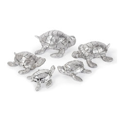 Kathy Kuo Home - Set of 5 Melbourne Coastal Beach Silver Turtles - If you've got a marine lover, this set of silver sea turtles will bring a smile of delight. The charming poses are perfect as a centerpiece or placed on napkins as place settings.