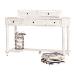 Southern Enterprises - Hunter Desk - This white desk with hutch is the ultimate addition to your home office. It presents generous storage space and a great work area for all of your exciting - and less than exciting - endeavors. This white desk has a mild country inspiration with simple but beautiful details. The molded edges, and rounded leg details complement the inset drawer fronts perfectly. The charming hutch can be used directly on the desk or mounted to the wall above it. Add this lovely desk to your home office or bedroom for the perfect workspace. The subtle country appeal and modest design of this white desk make it a wonderful choice for homes with virtually any style of decor.
