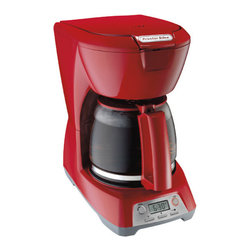 Hamilton Beach - 12 Cup Coffeemaker With Digital Display Red - This Proctor-Silex 12-Cup Coffeemaker has a programmable clock/timer. It features 2 hour auto shutoff, auto pause & serve, water window and 1-4 cup brewing option. Carafe and basket as dishwasher safe.