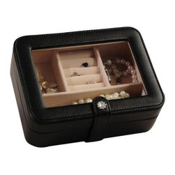 Mele Rio Jewelry Box - Black - 7.5W x 2.5H in. - The classic black Mele Rio Jewelry Box is perfect for at home or for traveling with its three open sections and one set of ring rolls. The clear viewing lid allows you to peer inside and the tabbed closure features a gorgeous 10 stone flower snap. The soft ivory suede fabric lining is a lovely contrast against the faux black leather of the jewelry box.About MeleEmidio Mele an Italian immigrant to the United States came to New York City in 1896 and learned to make jewelry boxes as an apprentice before founding Mele Manufacturing in 1912. He began by designing and building elegant displays for jewelry store windows. His jewelry box-making business grew throughout the 1900s responding to demands for boxes to hold Purple Hearts during WWII and developing as a popular household name for quality jewelry boxes. Today Mele Jewelry Box is known as the Mele Companies which encompass various divisions under the Mele name. Now based in Utica N.Y. Mele still upholds the family atmosphere on which it was founded and remains America's foremost name in jewelry cases.