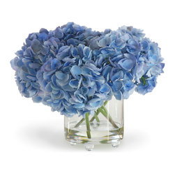 Winward Designs - Hydrangea In Vase Blue Flower Arrangement - We hear from many people who say they love hydrangeas because they bring back fond childhood memories. Perhaps a next-door-neighbor had a hydrangea bush and you remember seeing those lovely, blue pom-poms of flowers. Perhaps theyll find a home in yours. This is an American favorite!