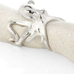 Z Gallerie - Octopus Napkin Ring - Set of 4 - Our lighthearted leggy metallic Octopus Napkin Ring is a delightful decorative accent to add interest to a table setting. Designed to coordinate with our other octopus pieces, our Octopus Napkin Ring is crafted of ruggedly textured raw pewter with a deep metallic finish, and sits on its set of eight curly arms.  Available in either gold or silver.