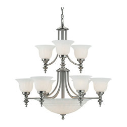 Dolan Designs - Dolan Designs 664 14 Light Up / Down Lighting Chandelier Richland Colle - Traditional / Classic 14 Light Up / Down Lighting Chandelier from the Richland CollectionThe Richland fourteen light chandelier is a grand example of traditional styling. Two tiers of fluted glass shades give it an air of magnificence that is hard to deny.Features: