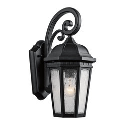 Kichler Lighting - Kichler Lighting Courtyard Traditional Outdoor Wall Sconce X-TKB3309 - Uncluttered and traditional, this 1 light outdoor wall lantern from the Courtyard&trade: collection adds the warmth of a secluded terrace to any patio or porch. Featuring a Textured Black finish and Etched Seedy Glass, this design will elevate and enhance any space.