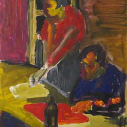 1950-60s Bay Area Figurative Couple at Table by Alysanne McGaffey