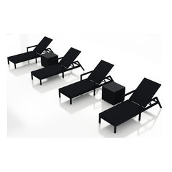 Forever Patio - Urbana 6 Piece Wicker Chaise Lounge Set, No Cushions - The Harmonia Living Urbana 6 Piece Rattan Patio Chaise Lounge Set  (SKU HL-URBN-CB-6RLCS-NC) brings comfort and style to your outdoor space. Each chaise is constructed with durable, thick-gauged aluminum frames which are protected by a powder coating for superior corrosion resistance. The wicker is made of High-Density Polyethylene (HDPE) with its coffee bean color and UV resistance infused into the strands themselves. This creates a rich wicker color that holds up incredibly well with age. This chaise adheres to the highest quality standards for modern patio furniture in the market today, meaning it will last for years to come.