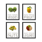 Groovy Gal Designs Online - Eat Your Good Foods Healthy Kitchen Prints Set of Four Giclees, 8x10 - Love to look at beautifully photographed food? Want inspiration for your kitchen? Need motivation to stay on your diet? This wonderful set of four giclee prints will encourage you to eat from the healthy food groups every day!