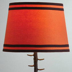 Orange Double Ribbon Table Lamp Shade - Custom lamp shades can cost a fortune. These look custom and are so well priced. World Market has a wonderful selection of lamps and lamp shades. I love the color on the one shown, and the double ribbon trim is so rich!