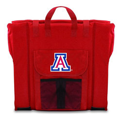 Picnic Time - University of Arizona Stadium Seat in Red - The Stadium Seat is ideal for anyone who enjoys sporting events, concerts, or other arena activities. This padded seat is made of durable 600D polyester and provides maximum seat support, which is especially useful when sitting on hard bleacher seats or benches. EPE foam in the seat's core also insulates your seat from cold bleachers. A large zippered pocket keeps all of your essentials within reach. Convenient carry straps allows the seat to be carried as a folded tote. You'll want to take the Stadium Seat to every spectator event to ensure your seating comfort.; College Name: University of Arizona; Mascot: Wildcats; Decoration: Digital Print