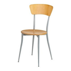 Adesso - Adesso Cafe Natural Wood & Steel Dining Side Chair - Pair this cafe chair with our cafe table for a small sitting area or breakfast nook! Powder coated steel frame and legs. Available with either black leather or natural wood back and seat. Adesso was established in 1994 based on the belief that there was an under-served niche among consumers who sought high-end contemporary home products at moderate prices. Since then Adesso has not only revolutionized the home industry with its innovative products but also gained substantial recognition for its well-designed and well-priced lamps and RTA furniture quickly establishing itself as an industry leader and consumer favorite. From the onset when Adesso first introduced its lighting products an array of colors and materials were utilized in the design including metals rice-paper woven fabric glass resin renewable bamboo wood and cork! It wasn't long before a new category of RTA furniture was added to the product line. Everything from tables chairs and pedestals to media and coat racks and screens were included in this new assortment. The furniture was and remains fresh contemporary and always reasonably priced. Adesso's wide range of products allow them to cater to a variety of tastes to ensure you will always find the style you are looking for.