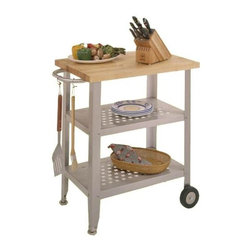 John Boos - Steel Utility Cart w Maple Finish Butcher Blo - Stainless steel shelves, legs and towel bar add function and give it a very streamlined look. The food grade stainless steel is easy to clean and looks great for years. This multi-functional, charming Maple Top Kitchen Cart - Cucina Avanti is a great way to condense all your prep work gadgets and necessities, but it�۪s also a solution to small apartments that lack counter space. The towel bar and shelves hold all the necessities for food preparation and the design makes it perfect for serving coffee on the patio. A solid maple top can stand up to even the biggest meal. * Solid maple top. Food Service Grade - Stainless steel shelves. Stainless steel legs & towel bar. Glides & rigid casters on two legs. 35 in. H x 20 in. D x 30 in W. This item weighs 76 lbsThis Cucina Avanti Kitchen Cart would make a great addition to any kitchen. Also has many features including a solid maple top; stainless steel shelves, legs and towel bar; and two legs with glides and two with casters for easy mobility as well as stability.