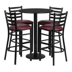 Flash Furniture - Flash Furniture Restaurant Furniture Table and Chairs X-GG-5201BRSR - 30'' Round Black Laminate Table Set with 4 Ladder Back Metal Bar Stools - Burgundy Vinyl Seat [RSRB1025-GG]