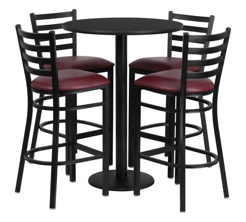 Flash Furniture - Flash Furniture Restaurant Furniture Table and Chairs X-GG-5201BRSR - 30'' Round Black Laminate Table Set with 4 Ladder Back Metal Bar Stools - Burgundy Vinyl Seat [RSRB1025-GG]