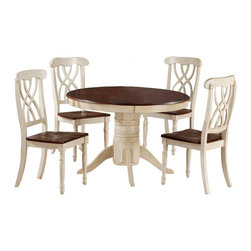 Monarch Specialties - Monarch Specialties 5 Piece 48x48 Dining Room Set in Antique White - Finished in a walnut veneer, this traditional pedestal table will create the perfect look for intimate dinners or casual get togethers. The round shaped piece features curved edges, turn post legs, and is brushed in an antique white color. This table has a simple yet stylish look that can blend into any decor. These armless dining chairs compliment the style of the dining table with their sleek lines and antique white finish. With turn post legs and a unique interlacing curve motif, these pieces are completed with a warm, walnut colored seat. What's included: Table (1), Side Chair (4).