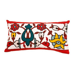"""Allem Studio - Allem Studio Taj Pillow - Inspired by stone inlay work, the graphic Taj throw pillow adds a touch of bohemian style. A vibrant colorway lends contemporary flair to this exquisite vintage floral by Allem Studio. 20""""W x 20""""H; 100% cotton; Red, teal, yellow, brown and white; Solid white reverse; Hidden zipper closure; Feather pillow insert included; Machine wash"""