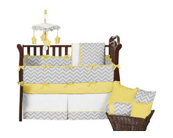 Sweet Jojo Designs - Zig Zag Yellow and Gray Chevron 9-Piece Baby Crib Bedding Set by Sweet Jojo Desi - The  baby bedding by Sweet Jojo Designs includes: comforter, bumper, dust ruffle, fitted sheet, toy bag, pillow, diaper stacker and 2 window valances.