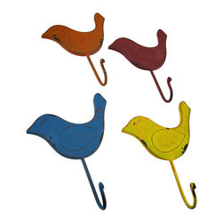 Zeckos - Colorful Metal Bird Wall Hooks, Set of 4 - This fun set of 4 colorful bird shaped wall hooks are great for hanging anything from towels, coats and hats to keys, the dog's leash or mugs in the kitchen Made from metal, each 7 inch high, 6 inch wide, 2 inch deep (18 X 15 X 5 cm) hook features a hand-painted distressed finish that looks great with shabby chic, country or rustic style decor. Each hook has an attached keyhole hanger on the back making mounting to any surface easy, and would look great on a porch, patio or out on the garden fence to hold watering cans, too