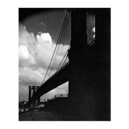 Artehouse New York Bridge at Night Art Print - 18W x 24H in. - Visual drama! New York Bridge at Night captures a striking view of the Brooklyn Bridge at night. This 24L x 18-inch high limited edition black and white photo is printed on quality Somerset Velvet paper and comes ready for framing. It is a great gift idea for collector's of vintage art.