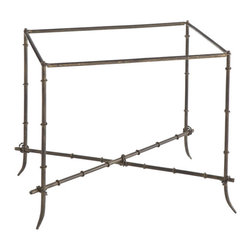 Antiqued and Gilded Side Stand - This iron folding stand is designed to accommodate a href=http://www.wisteria.com/American-Tray/productinfo/W4798/bThe Americana Tray/b/a, a href=http://www.wisteria.com/Red-And-Gilded-Greek-Key-Tray/productinfo/W4800/bThe Red and Gilded Greek Key Tray/b/a, anda href=http://www.wisteria.com/Orange-Coat-Of-Arms-Tray/productinfo/W4802/b The Orange Coat of Arms Tray/b/a. Buy multiple trays to update the table throughout the year, or several bases and trays for different rooms!