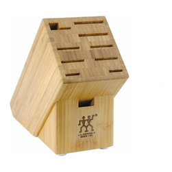 Henckels 10 Slot Bamboo Knife Storage Block - The Zwilling J.A. Henckels Twin Bamboo Knife Storage Block features 10 slots to store your entire cutlery collection. The bamboo construction makes it an attractive addition to your countertop and kitchen and the rubber feet prevent slipping of the block.