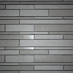 Art Strip Tiles - Simple, clean line pattern. Love how the color resembles concrete! This would look great on a wet bar backsplash or the walls in a shower.