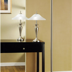 Artiva - Artiva Brushed Steel/ Hammer Glass 3-piece Table/ Floor Lamp Set - This three-piece lamp set from Artiva USA is perfect for your home or office decor. The brushed steel finish and hammer glass shades are beautiful accents to these lamps. Put the art in the same room or different and let them illuminate your place.