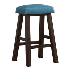 American Heritage - American Heritage Saddle Stool in Aqua - Bar Height - The backless Saddle stool is finished in Riverbank and topped with an Aqua bonded leather cushion. With a comfy contour for lounging the Saddle stool features floor glides and a 1 year warranty. Consumer assembly is required.