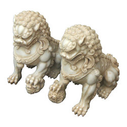 "Golden Lotus - Pair Chinese Hand Carving White Marble FenShui Foo Dogs - This is a beautiful pair of white marbel stone Foo Dog. The male Foo Dog has an embroidered ball under its paw and the female has a baby Foo Dog. Its carving is very detail, even their paws, bodies, and face.  There also have very beautiful carving detail on its bodies.  You can put this pair of foo dog at the front of your house or garden.  In Chinese culture, the ""Fen Shui"" Foo Dog can protect the people who are living the house."