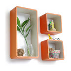 Blancho Bedding - [Sun orange]Rectangle Leather Wall Shelf / Bookshelf / Floating Shelf (Set of 3) - These rectangle wall cube shelves add a new and refreshing element to your room and can be easily combined with other pieces to create a customized wall space. You can hang them on the wall, or have them stand on table or floor, any way you like. Coming in various colors and sizes, they spice up your home's decor, add versatility, and create a whole new range of storage spaces. Perfect for wall mounting, these modern display floating shelves are sure to delight. Constructed from MDF with a top faux leather wrapping. Fashion forward design has never been so functional. This range of faux leather storage cubes is sure to delight! Easy to mount, easy to love! Attractive shelf boxes give any wall in your home a striking appearance. Arrange in whatever fashion you like - whether it be grouped together or displayed separately. Each box serves as a practical shelf, as well as a great wall decoration.