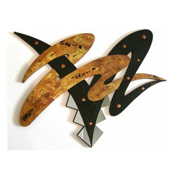 Alisa Diva - Big Chocolate Attack Abstract Wooden Wall Sculpture - This exciting wall sculpture is a visual feast of spectacular design and meticulously applied details. Two bold nonsensical zigzags are entwined to form an exhilarating abstract that will stop traffic. Handpainted in rich chocolate browns featuring a textured, glossy finish that adds even more character to this stunning piece