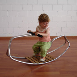 Bobbel Rocking Sculpture - Made out of aluminum tubes and noble teak, the Bobbel rocking horse features a suspended seat.