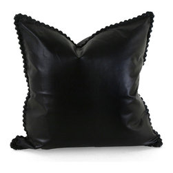 Pfeifer Studio - Leather Whipstitch Pillow, Black Leather, 16x16 - Combining the sophistication of an �old boys� club with the appeal of urban living and the ruggedness of the dry desert plains, the Leather Whipstitch Pillow invites you to a smoking room on Park Avenue, a spacious Parisian loft or the New Mexico desert. Each closes with a hidden garment zipper and is fitted with a medium-fill feather and down inner. Our pillows are each individually handmade-to-order using natural materials, each is considered unique and one-of-a-kind.