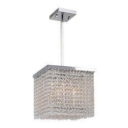 """Worldwide Lighting - Prism 4 Light Chrome Finish Crystal String 10"""" Square Mini Small Pendant Light - This stunning 4-light Crystal Mini-Pendant only uses the best quality material and workmanship ensuring a beautiful heirloom quality piece. Featuring a radiant chrome finish and finely cut premium grade clear crystals with a lead content of 30%, this elegant pendant will give any room sparkle and glamour. Worldwide Lighting Corporation is a privately owned manufacturer of high quality crystal chandeliers, pendants, surface mounts, sconces and custom decorative lighting products for the residential, hospitality and commercial building markets. Our high quality crystals meet all standards of perfection, possessing lead oxide of 30% that is above industry standards and can be seen in prestigious homes, hotels, restaurants, casinos, and churches across the country. Our mission is to enhance your lighting needs with exceptional quality fixtures at a reasonable price."""