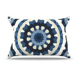"""Kess InHouse - Laura Nicholson """"Ribbon Mandala"""" Navy Tan Pillow Case, Standard (30"""" x 20"""") - This pillowcase, is just as bunny soft as the Kess InHouse duvet. It's made of microfiber velvety fleece. This machine washable fleece pillow case is the perfect accent to any duvet. Be your Bed's Curator."""