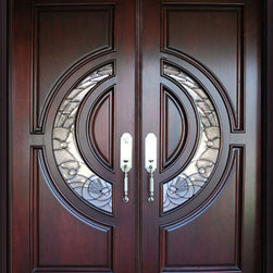 "Global Entry Doors - 580E Mahogany Entry Door - This door unit comes in African Mahogany wood. It comes in 61 1/2"" wide or 73.5"" x 97.5"" tall with a 5.25"" jamb. The door is pre-hung and pre-finished and comes with a 3"" interior casing and an exterior brick molding. The glass is triple glazed with black caming. All you need to buy is Entry Door hardware to complete your installation. The door is available in a right hand or left hand swing. Entry hardware is not included. Shipping to the continental USA is included."