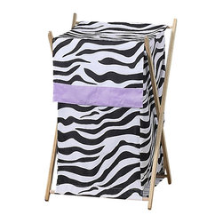 Sweet Jojo Designs - Purple Zebra Hamper - The Purple Zebra laundry hamper will help complete the look of your Sweet Jojo Designs room. This adorable laundry clothes hamper includes a wooden frame, mesh liner and fabric cover. The removable hamper body is secured to the wooden frame with corner loops and Velcro. The wooden stand folds flat for space-saving storage and the removable mesh liner is great for toting laundry. Dimensions: 26.5in. x 15.5in. x 16in.