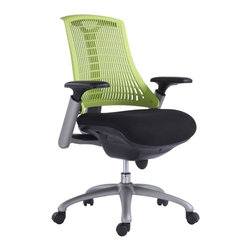 VIG Furniture - Modrest Innovation Modern Green Office Chair - The design of this modern office chair is based on the creator's passion and user's taste. This mesh two tone office chair is a great accompaniment to any desk. It has a high back rest that will support the back and keep you comfortable for hours at end. With this office chair, you can rest assured that your work will be your top priority.