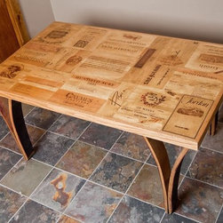 """Wine Crate Table with Stave Legs - Pictured table measures 5'x3'x29"""".  Available in custom sizes."""