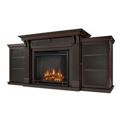 Dark Walnut Ashley Electric Fireplace & Entertainment Unit - Based on a best selling favorite, the Ashley Entertainment Mantel features ample storage thanks to a drop down center glass door and dual side cabinets. Capable of safely supporting a television of 100 lbs. or less while adjustable shelving accommodate most electronics and other objects. The Vivid Flame Electric Firebox plugs into any standard outlet for convenient set up. The features include remote control, programmable thermostat, timer function,  brightness settings and ultra bright Vivid Flame LED technology. Available in Dark Walnut and Dark Espresso finishes.