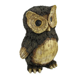 Rustic Carved Wood Look Owl Statue Figure 10 Inches Tall - Made of cold cast resin, this beautiful owl statue looks like it is hand carved from a fallen log. Measuring 10 1/4 inches tall, 7 inches wide, and 6 1/2 inches deep, the body feathers look like tree bark, and the face and breast look carved. It makes a great gift for owl lovers.