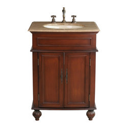 "Stufurhome - 26"" Prince Single Sink Vanity with Travertine Marble Top - Add grace and elegance to a guest or master bath with the addition of the diminutive 26"" Prince Single Sink Vanity. The warm cherry finish and"