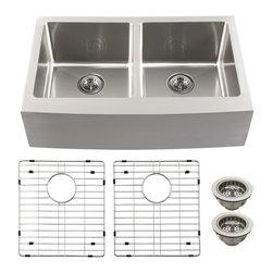 Schon - Schon Luxury 16 Gauge 50/50 Double Bowl Apron Front Kitchen Sink (SCAP505016) - Schon SCAP505016 Luxury 16 Gauge 50/50 Double Bowl Apron Front Kitchen Sink, Stainless Steel