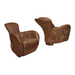 Saddle Chair Bull & Bull Nubuck - It's all about the details, from the quilted seat and the stirrups, down to the back leg shaped like a horses hoof. This chair is the epitomy of style and class.