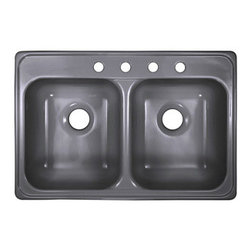"""Lyons Industries - Kitchen Sink, Ideal Dual Bowl Acrylic 7.5"""" Deep, Metallic Silver - Lyons Industries Ideal Metallic Silver acrylic kitchen sink with two large 7.5"""" deep sink bowls. This standard self rimming 33""""X22"""" sink is easy to install as a remodel or new construction project. This sturdy sink has durable easy to clean high gloss acrylic construction with a fiberglass reinforced insulation backer. This sink is quiet and provides a superior heat retention than other sink materials meaning your dish water stays warm longer. Lyons sinks come with a simple mounting tab and clip system to firmly fasten the sink to the countertop and reinforced drain areas for safely supporting a garbage disposal. Detailed installation instructions include the cut-out specifications. Lyons sinks are proudly made in America by experienced artisans supporting our economy."""