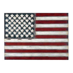 Uttermost American Flag Metal Wall Art - Aged red, white and blue with black tipping. Made of hand forged metal, this wall art is finished in aged red, white and blue with black tipping.