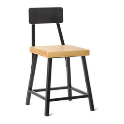 """Vermont Farm Table - Maple Square Metal """"Bar"""" Stool with Back, 18"""" - Available in three standard sizes - 18"""", 25"""" and 30"""".   All wood options available in 1.75"""" thick seat. Overall seat size 13.5"""" x 13.5""""."""