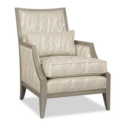 Sam Moore - Sam Moore Kamira Exposed Wood Chair - Slate Multicolor - 4535.21/2681 SLATE/TRUF - Shop for Living Room Chairs from Hayneedle.com! With its subtle tree pattern and gorgeous slate color the Sam Moore Kamira Exposed Wood Chair - Slate is a beauty. It features a satiny-soft fabric upholstery that is a perfect complement to the exposed truffle-finished wood trim and tapered legs. Inward-curving arms a matching kidney pillow and deluxe seat cushion make it yours.About Sam MooreSince 1940 Sam Moore's hand-crafted upholstered furniture has offered extraordinary quality comfort and style. This Bedford Virginia-based company proudly crafts its products right here in the USA. From classic to transitional to contemporary styles Sam Moore takes time with every detail making sure each piece is something you'll appreciate in your home.