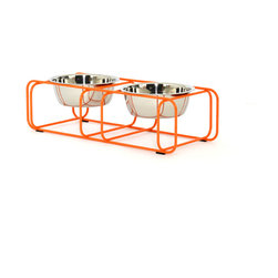 Doca Pet - Wire & Dine, Small, Orange, 3 Cup - Powder coated steel wire. Rubber non-skid bumpers. Available in white, grey, orange, and green. Includes two stainless steel bowls. Designed and made in Chicago.